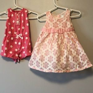 2 OUTFITS. Pink Carter's romper and Gymboree dress